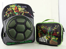 """Mutual Ninja Turtles Shell 16"""" Large Backpack and Lunch set 2 pc Licensed"""