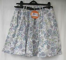 LADIES MARKS & SPENCER INDIGO WHITE FLORAL FULLY LINED SKIRT SIZE 14 WITH BELT