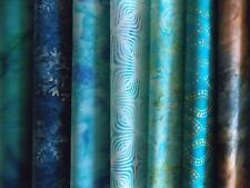 "Teal Batiks Fabric 30 Piece Jelly Roll 2.5"" x 44"" Fabric Strips Premium Cotton"
