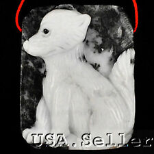 Attractive! Natural Zebra Agate Carved Dog Pendant Bead