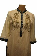 PEARL WHITE ASIAN KURTI PARTY TOP - BORDERED NECKLINE WITH SWAROVSKI CRYSTALS AN
