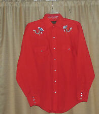 VINTAGE Red CRAIG ANDREW Embroidered ROCKABILLY Western SNAP Button TOP Medium