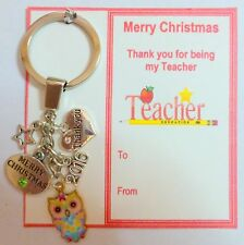 Christmas Thank you Gift for Teachers  Keyring on Gift Card organza Bag