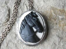 BLACK HORSE (ON WHITE) CAMEO ANTIQUED SILVER PLATED LOCKET -  HORSE LOVERS GIFT