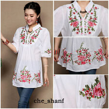 Vintage 70s Women Ethnic Floral Embroidered  Mexican Peasant White Boho Blouse