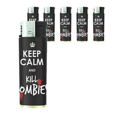 Butane Refillable Gas Lighter Set of 5 Keep Calm and Kill Zombies Design-021