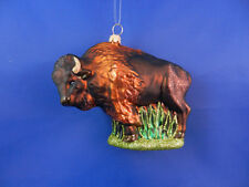 American Buffalo Bison Christmas Ornament Glass Western Animal Poland 011222