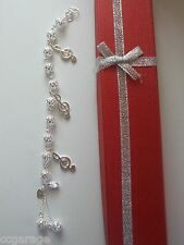 NEW CHILDRENS SILVER BRACELET ,MUSIC NOTE CHARMS,GIFT BOX [MADE TO ANY SIZE ]