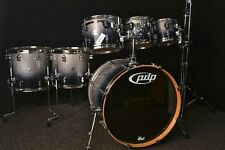 PDP Pacific Concept Maple kit Silver to Black Fade Sparkle Lacquer CM7 New 7 pc
