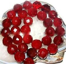 Natural 10mm Faceted Red Ruby Gemstone Round Loose Bead 15'' AAAAA