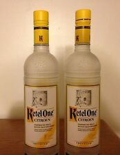 Lot of Two (2) Ketel One Citroen Vodka 750 ml/ Frosted Glass / With Caps