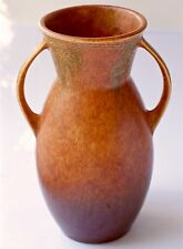 "ROSEVILLE POTTERY 10 1/2"" TERRA COTTA WINDSOR #554-10 HANDLED VASE Circa 1931"