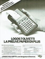 PUBLICITE ADVERTISING 115  1978  OLIVETTI  la calculatrice LOGOS 7