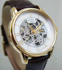 Rotary Men's Gold Plated Skeleton Automatic Watch Stunning RRP £190