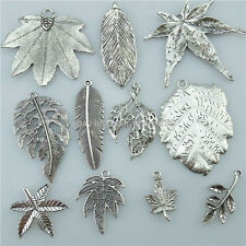 Mixed 1SET=11PCS Vintage Silver Tone Alloy Leaf Maple Leaf Plant Pendant Charms