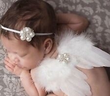Newborn Baby Girl White Feather Angel Wings & Headband Set, Newborn Girl Photo