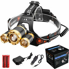 ZOOM CREE 30000LUMENS 3X XML T6 LED Headlamp Head Light Torch Lamp 18650 Battery