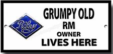 GRUMPY OLD RILEY RM OWNER LIVES HERE METAL LETRERO VINTAGE RILEY COCHES