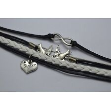 Cute Style Peace Dove Infinity Charm Bracelet Sister Charm Black White Leather