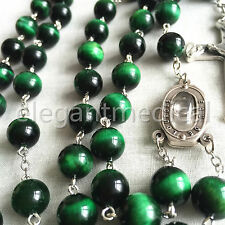 xl 10MM green Tiger Eye Bead Rosary CROSS catholic necklace Lourdes Water medal