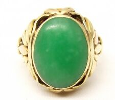 Vtg 14K Gold Green Jade Ring Cabochon Sz 6 Chunky Cocktail Flower Jadeite Big