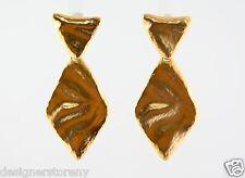 Kenneth Jay Lane Satin Gold Triangle Top/Diamond Drop Pierce Earrings