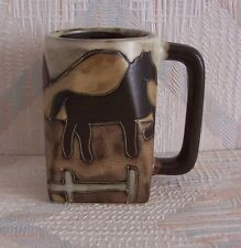 Horse Mug Mara Square Equestrian Stoneware 12 Ounces Dark Handle
