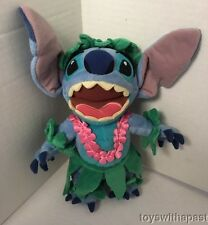 "Hawaiian STITCH 9"" Plush Doll Hula Grass Skirt Lei Walt Disney World Stuffed Toy"