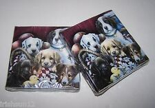 2 pkg PUPPY DOG NAPKINS-60 2ply Paper Cocktail-Collectible 5 Breed Pup Decoupage