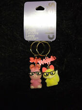 Best friends key chains new fuzzy nerdy bunnies set of 2 bunny with glasses