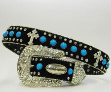 XS S M or L  BLACK HAIR LEATHER BLUE TURQUOISE  CROSS WESTERN  COWBOY GIRL BELT