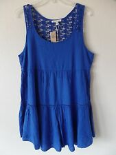 AEO American Eagle Womens L Floral Crochet Back Lined Sleeveless Blue Dress New