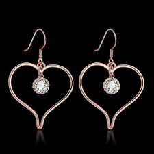 Charming Rose Gold Plated Zircon Heart Drop Dangle Earrings LF