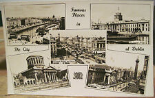 Irish RPPC Postcard FAMOUS PLACES IN DUBLIN Ireland Multiview Four Courts Liffey