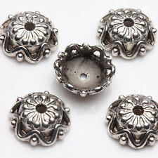 15Pcs Tibet Silver Plated Flower Spacer Bead Caps Jewelry Findings DIY 12X4MM