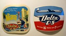 1955 Delta - C&S Airlines DC-7 Schedule Postcard and 2 Luggage Labels