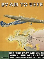 ART PRINT POSTER TRAVEL AIRLINE PLANE SOVIET UNION USSR NOFL1301