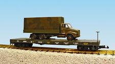 USA Trains G Scale  R1781 US ARMY Flat Car #G5058 W/TRUCK -GREEN