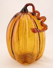 "New Large 11"" Hand Blown Art Glass Crackle Pumpkin Amber Sculpture Fall Harvest"