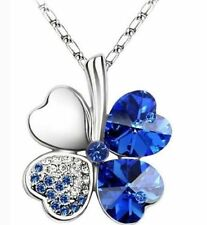 Crystal Lucky Four Leaf Clover Love Heart Charm Pendant Necklace (Last One!!!!!)