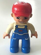 *NEW* Lego DUPLO Male BLUE Legs TAN Top BLUE Overalls RED BASEBALL Cap