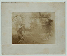 UNUSUAL Photo - Photographer's Camera Blows Up Knocks Person Down  ca 1890