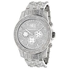 Iced Out Watches Luxurman Mens 1.25ct Diamond Watch with Metal Band and Extra Le