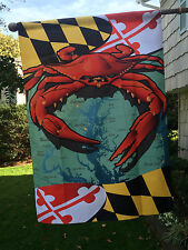 """RED Crab Flag Maryland State Flag -  House Large 28x40"""" Beach Nautical 2-Sided"""