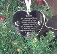 Personalised Christmas Tree Decoration Baubles / Heart Engraved Gift / Friend