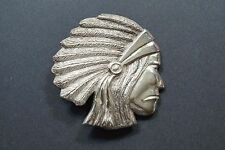 VINTAGE STERLING SILVER INDIAN CHIEF HEAD BELT BUCKLE  A478