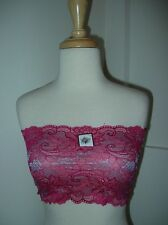 NWTS Sexy Strapless Bra Lace Pink Gray Floral Wide Bandeau Tube Top 28 30 32 34