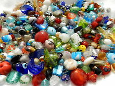 1 Kg  glass bead mix silver foil crystal lampwork + more - free postage