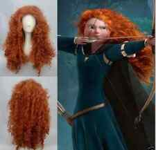 Disney Pixar Animated movie of Brave MERIDA cosplay Long curly orange wig