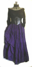 BLACK PURPLE RENAISSANCE CORSET DRESS STEAMPUNK MEDIEVAL PIRATE WENCH SKIRT TOP